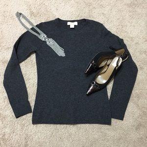 Dark gray long sleeve cashmere sweater, S